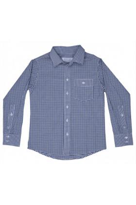 Рубашка комбинированная в зелёную клетку