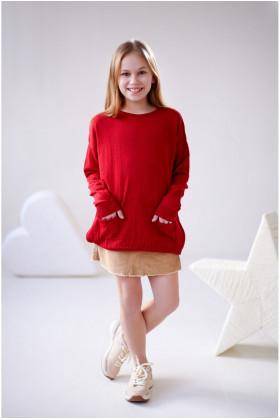 Свитер с карманами Красный