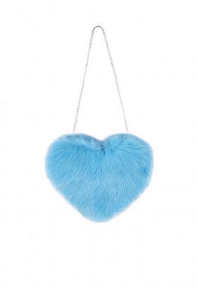 Сумка из кролика Сердце (голубая)
