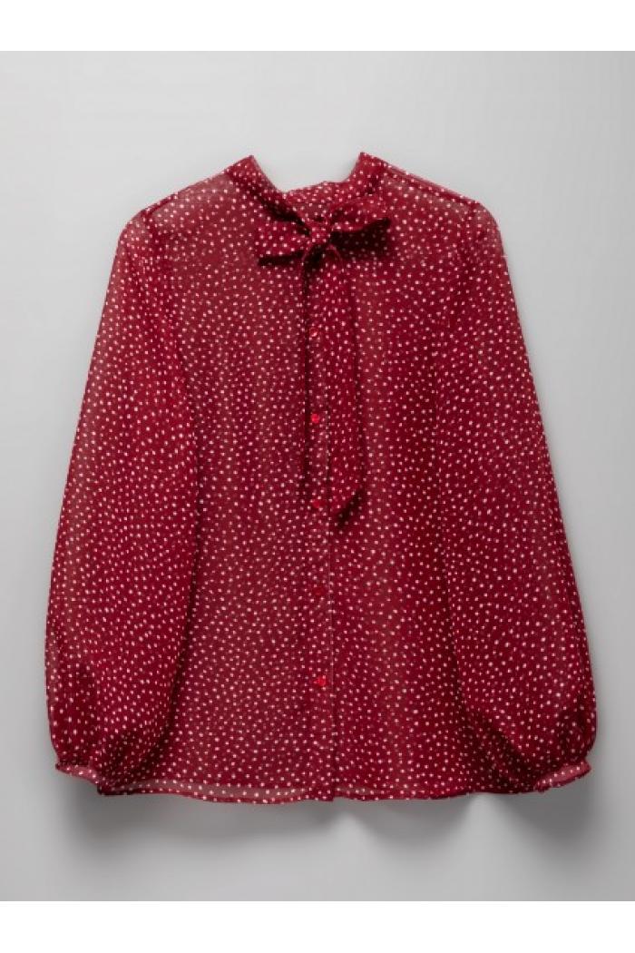 Блузка бордовая полупрозрачная в горох