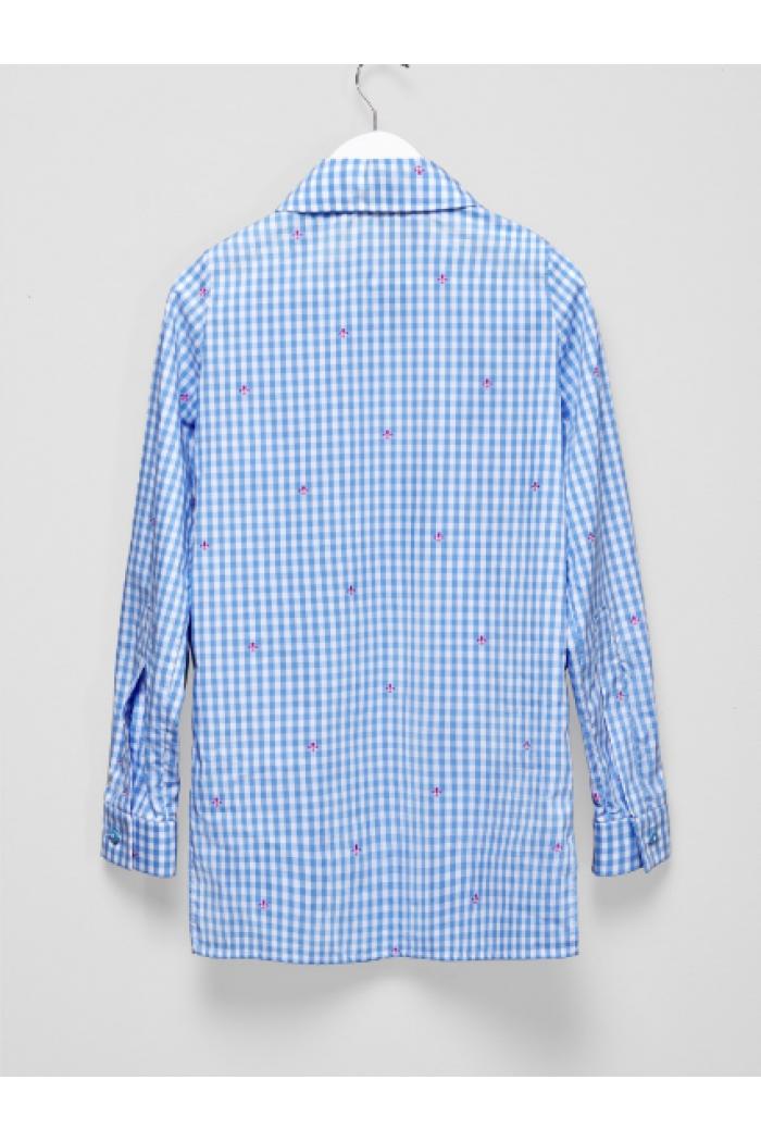 Рубашка удлиненная в клетку с мелким цветочным принтом
