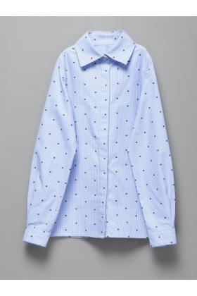 Рубашка светло-голубая в мелкую клетку с мелким цветочным принтом