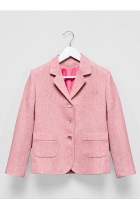 Пиджак твидовый пыльно-розовый