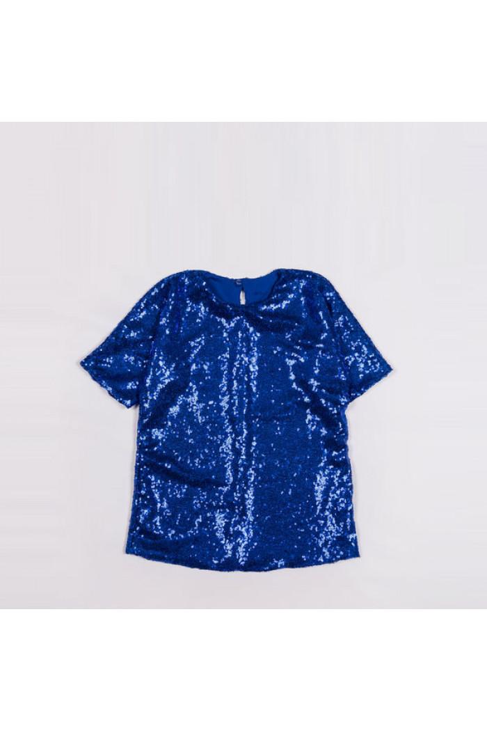 Платье пайетки ярко-синее