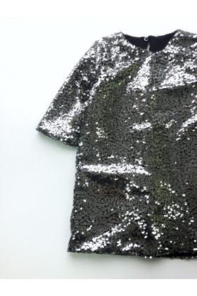 Платье пайетка серое