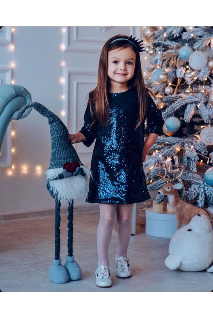 Платье пайетка темно-синее