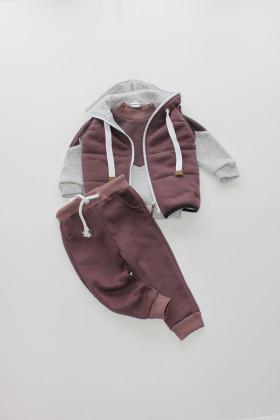 Костюм-тройка Лиловый/Серый