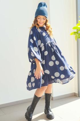 Платье синее с пышными рукавами
