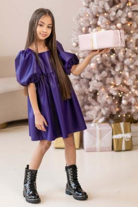 Платье из эко-кожи фиолетовое