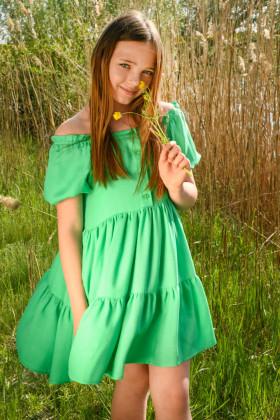 Платье зеленое с рукавами-фонариками