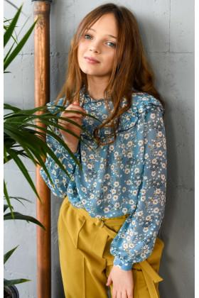 Блуза голубая с цветочным принтом