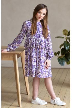 Платье с лентами лавандовое