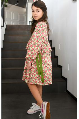 Платье с лентами розово-оливковое