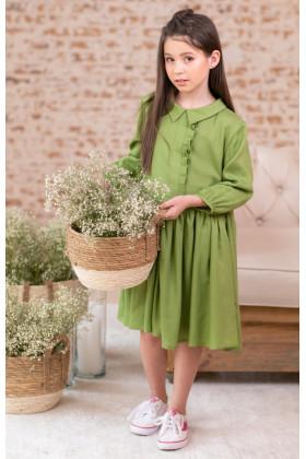 Платье пышное оливковое