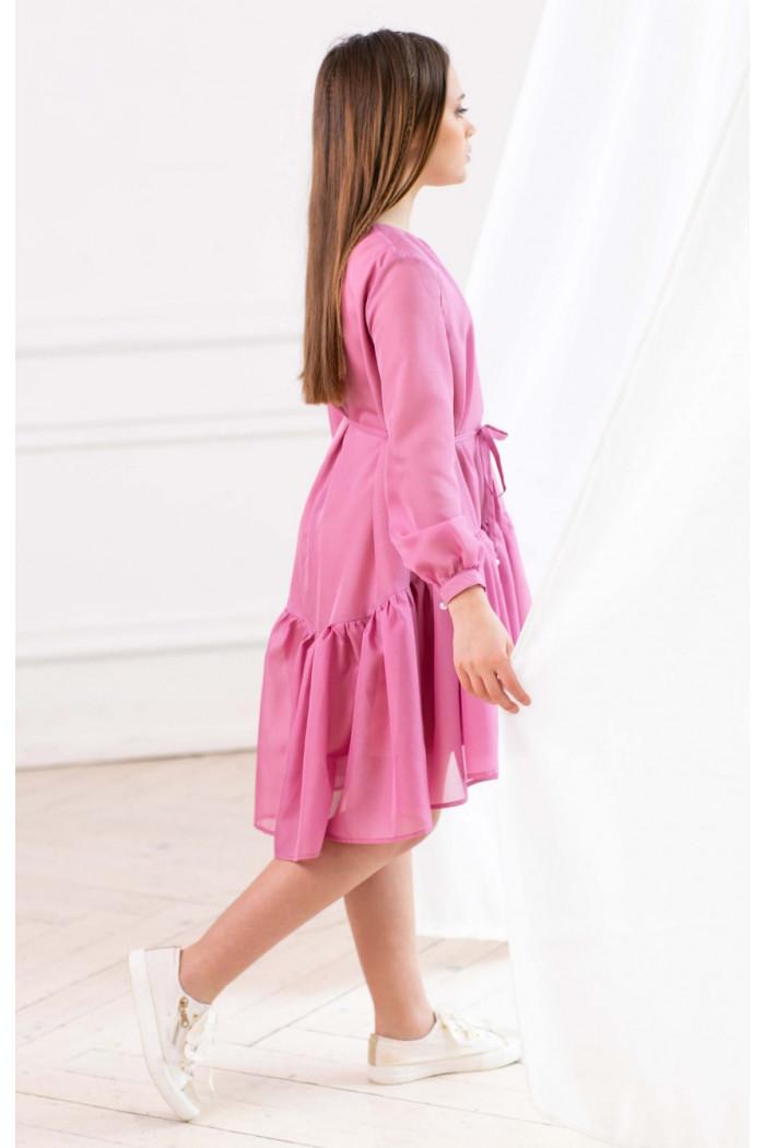Платье шифоновое розовое